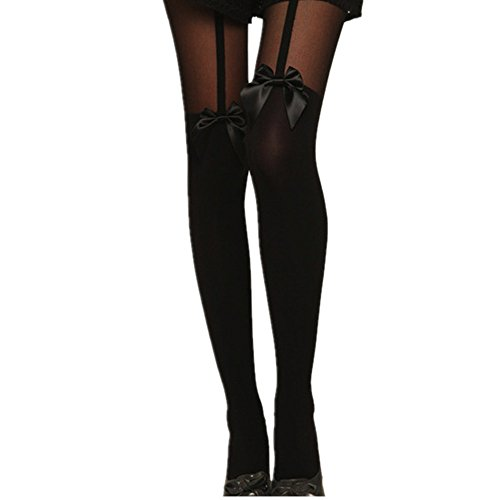 Damen Strumpfhosen Vintage, ZIYOU Frau Mode Strumpf Socken mit Bowknot Sheer Halterlose Strümpfe (Leggings Strümpfe Strumpfhosen)
