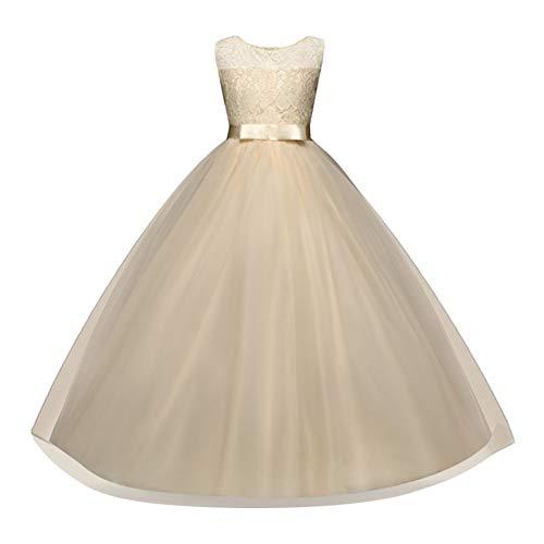 id Kinder Prinzessin Formale Festzug Urlaub Hochzeit Kleider Ärmellos Tüll Spitze Party Brautkleid Ballkleid 5-14 Jahre Champagner 160 ()