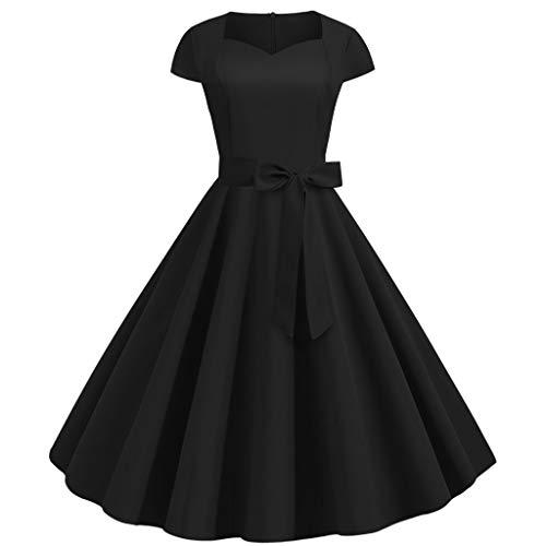 Retro Kleid Elegantes Abendkleid Einfarbig Kurzarm Swing A-Linie Rock 50er Jahre Familie Hausfrau Casual Party Prom Fluffa Kleid
