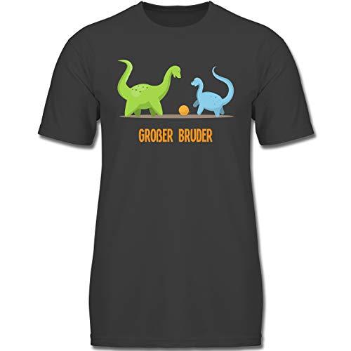 Geschwisterliebe Kind - Großer Bruder Dinosaurier - 140 (9-11 Jahre) - Anthrazit - F130K - Jungen Kinder T-Shirt - Big Kinder Bekleidung Lila