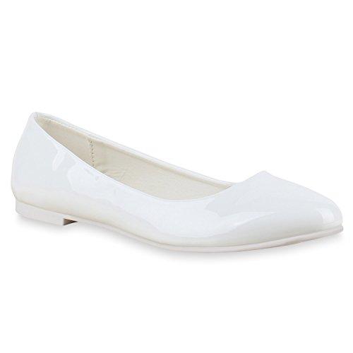 Klassische Übergrößen Damen Ballerinas Lederoptik Freizeit Flats Schuhe Weiß Lack