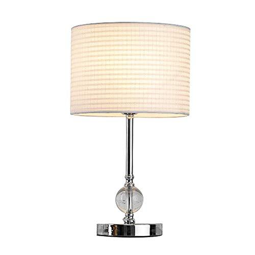 Oevina Modern Kristall Schlafzimmer Tischlampe mit Stoff Lampenschirm, einfache dimmbare Tisch Schreibtisch Licht Chrom-Finish E27 9W für Wohnzimmer Schlafsaal Indoor Decor-Golden Power Switch-Taste -