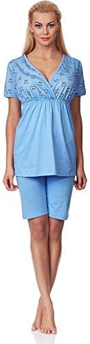 Be Mammy Damen Stillpyjama M3R2LL1 Blau