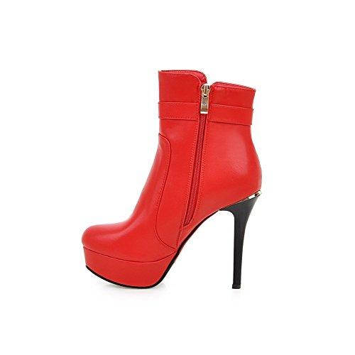 VogueZone009 Donna Cerniera Punta Tonda Tacco A Spillo Bassa Altezza Stivali con Talismano Rosso