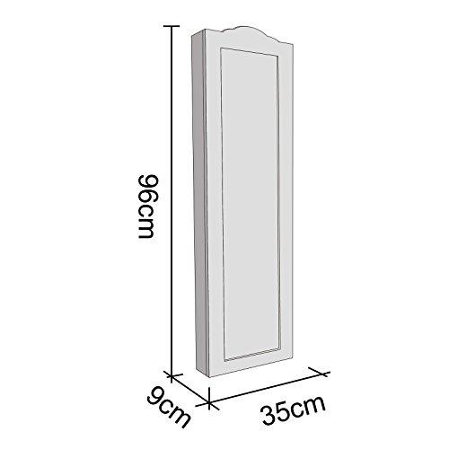 WOLTU MB0001ws Spiegel Schmuckschrank Standspiegel Wandspiegel Spiegelschrank Schmuckkasten, MDF Holz, mit Magnetverschluss, Weiß, ca. 96 x 35 x 9 cm (H x B x T) - 5