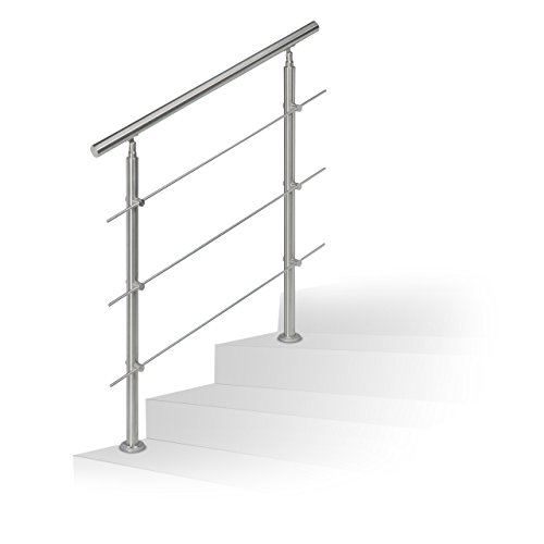 Barandilla para escalera Relaxdays de acero inoxidable, pasamanos adecuado para interior y...