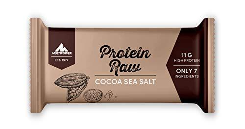 Multipower Protein Raw Bar Eiweißriegel, 20 x 45 g Protein Riegel Box, leckerer Energieriegel aus natürlichen Zutaten, Cocoa Sea Salt