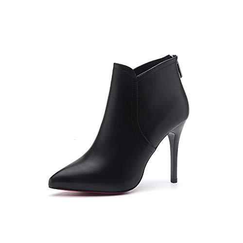 Top Shishang Herbst und Winter wies Stiletto Kurze Stiefel Damen sexy High Heels Martin Stiefel Chelsea Stiefel und Stiefeletten,schwarz 7CM,38 (Damen Für Winter-stiefel 7)