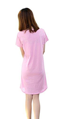 FakeFace Mode Femme Robe de Nuit Pyjama Coton T-shirt Manches Courtes Imprimé Chemise de Chambre Doux Respirant Aux Filles Rose
