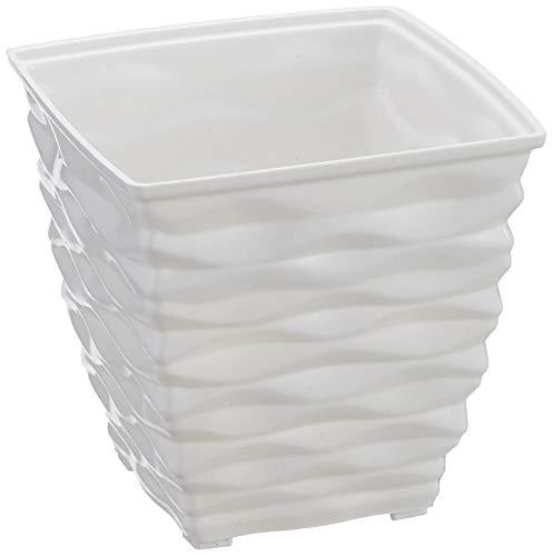Klassic Plastic Square Planter Set (Small, White, Pack of 4)