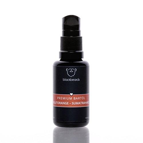 blackbeards Premium Bartöl Blutorange-Sumatraharz – Mit einem rauchig warmen Duft nach Lagerfeuer – Bestens für die tägliche Bartpflege geeignet – für alle Bartstile – 30ml