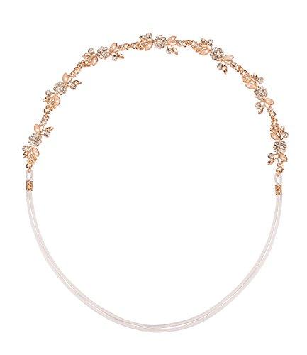 SIX Haarschmuck, elastisches Haarband, mit silber rosa Blumen-Kette und Strass (456-594)