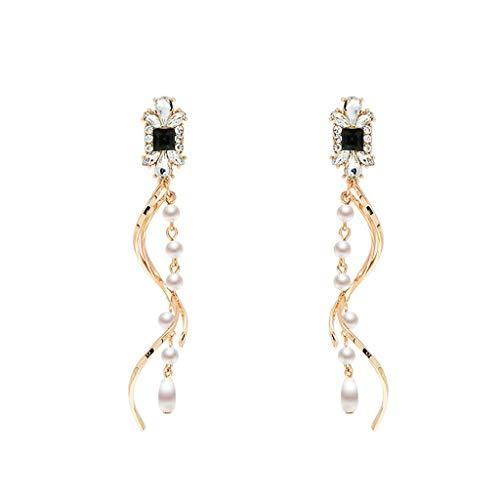 SO-buts Schlanke, minimalistische Lange Gebogene Ohrringe mit schwarzen und weißen Diamanten (Gold) -