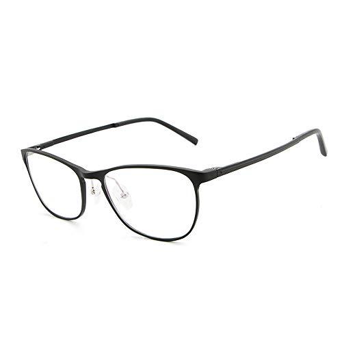 Gläser Aluminium Magnesium Ultra Plain Brille Mode Hipster Männer Brillengestell (Color : Schwarz, Size : Kostenlos)