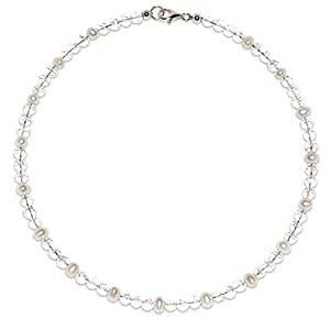 Bergkristall Halskette Bergkristall Kugeln facettiert Größe ca. 6 mm mit Süßwasserperlen Verschluss 925er Sterling-Silber Nr. 2160H