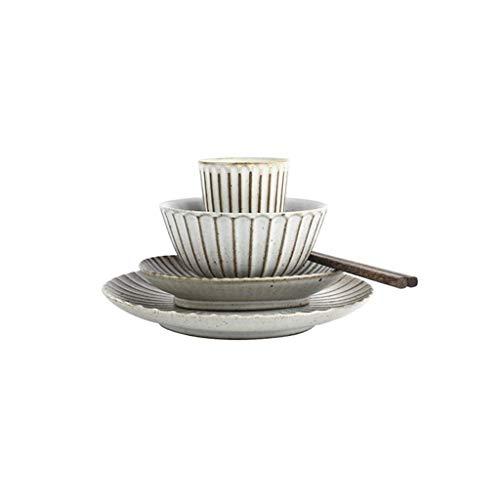 Bowl Juego de vajilla Retro Blanco japonés para el hogar, vajilla/Plato/Plato de cerámica Antideslizante, Adecuado para hornos, gabinetes de desinfección, hornos de microondas (Color : 5 Piece Set)