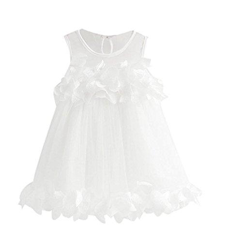 mer, Dasongff Mädchen Sweet Prinzessin Kleid Pageant Ärmellos Festlich Brautjungfern Kleider Festzug Party Tutu-Kleid Blumenmaedchenkleid mit Blütenblätter (90-2T, Weiß) (Kleinkind Mädchen 2t Halloween Kostüme)