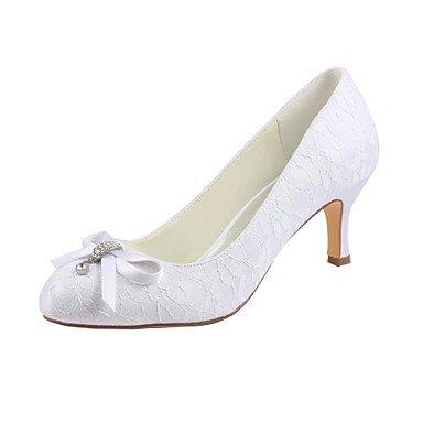 Wuyulunbi @ Femmes Chaussures Stretch Satin Automne Pompe Printemps Chaussures De Base De Mariage Talon Stiletto Round Toe Crystal Pour Party & Robe De Soirée Blanc Blanc