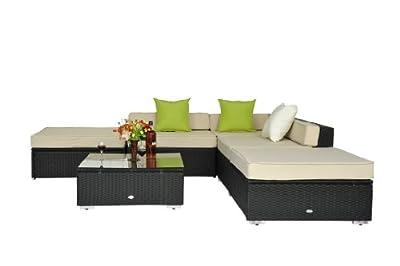 Outsunny Luxus Polyrattan Lounge Gartenmöbel Loungeset 18 tlg. Rattan Gartenset Sitzgruppe Loungemöbel Garnitur inkl. Kissen Alu Gestell Dekokissen gratis