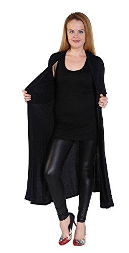 Extras Fashion - Gilet - Maxi - Manches Longues - Femme Noir