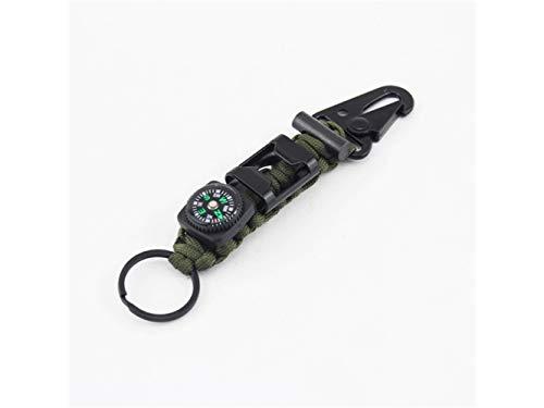 Plsonk Explorer Compass, Alliage de Zinc Multifonctions Outils Porte-clés Porte-clés Pinces Porte-clés pour Les Sports de Plein air (Vert armée) Outil de Navigation