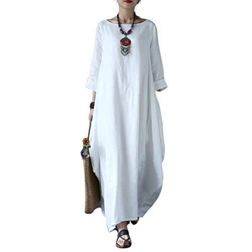 Wide.ling Leinenkleid Damen Sommer Lang Tunika Kleid Vintage Baggy Party Kleider Maxikleid Strandkleid Große Größe Weiß XL - Detail-robe