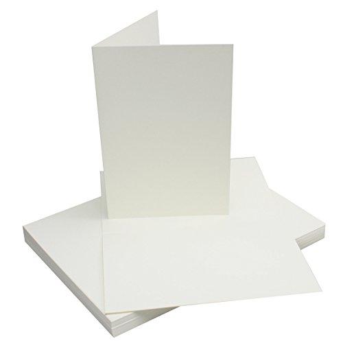 50x Falt-Karten DIN A6 Blanko Doppel-Karten in Natur-Weiß - 10,5 x 14,8 cm | Premium Qualität | FarbenFroh® - Faltkarte