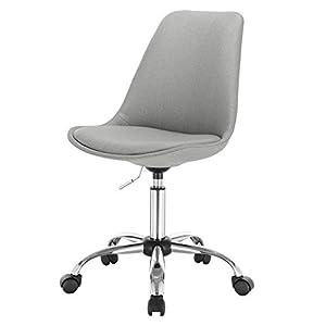 EUGAD 0009BGY Arbeitshocker auf Rollen Bürohocker Schreibtischstuhl Rollhocker 360° drehbar höhenverstellbar Stoffbezug Metall Hellgrau