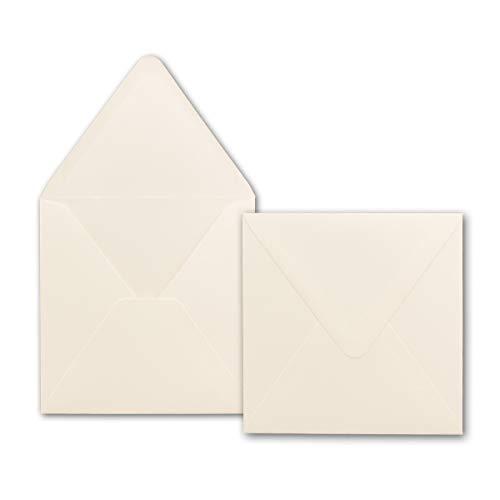 25x quadratische Brief-Umschläge 150 x 150 mm - Creme-Weiß - 120 g/m² | Für ganz besondere Anlässe! - Nassklebung - Qualitätsmarke: GUSTAV NEUSER -