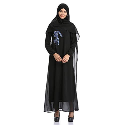 ALISIAM Frauen Muslimische Roben Blumenstickerei öffnen Lange Strickjacke arabischen Nahen Ostens türkischen Kimono Abaya ()