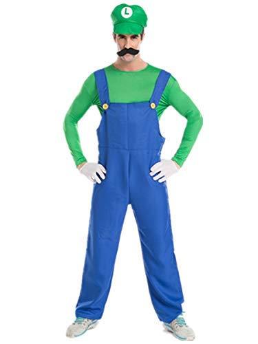 Fanessy. Super Luigi Bros Halloween Kostüme Jungen Mädchen Damen Herren Super Mario Kostüm mit Mütze Bart Handschuhe Erwachsene Kinder Verkleidung Cosplay Outfit für Fasching Halloween Karneval - Luigi Kostüm Junge