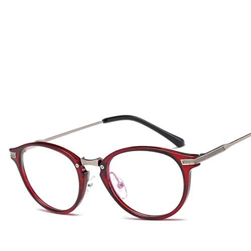 Mkulxina Trend Retro Computer Brille Unisex Kunststoff leichte rahmenglas für Frauen männer Anti blaulicht Brille (Color : Red) -