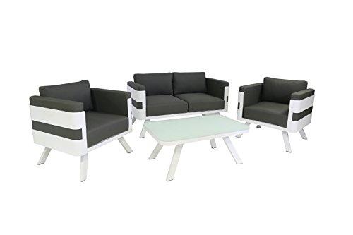 greemotion Alu Lounge-Set St. Tropez, 4-teilig, Gartenmöbel-Set aus Aluminium inkl. Kisse