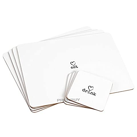 Upper-place Mats Set of 4 Placemats & Coasters White Charm Love Heart Dinner Table Setting Mats