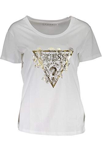 Guess Damen Ss Cn Flowers Tee T-Shirt, Weiß (True White A000 TWHT), X-Large