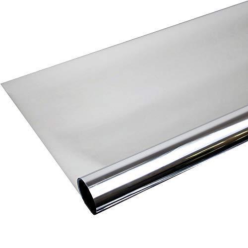 TipTopCarbon Fenster Spiegelfolie Silber Sichtschutzfolie 91cm Breite Fensterfolie Spion Design Folie Selbstklebend (Tönungsfolie 80)