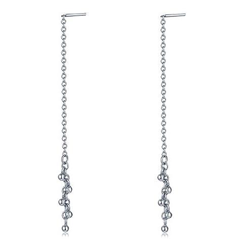 925Sterling Silber baumeln Perlen lange Kette Einfädler Ohrringe Frauen Schmuck Geschenk (Kette Einfädler Ohrringe)