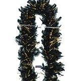 Folat - Federboa schwarz mit goldenen Glitzerstreifen