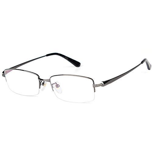 Rechteckige Lesebrille aus reinem Titan, ultraleichte Business-Brille für Herren mit klarer Sicht und Federscharnier,Guncolor,+2.5