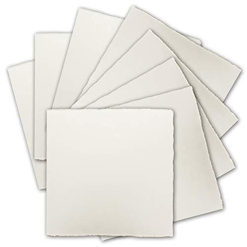 35x Quadratische Vintage Einzel-Karten, echtes Bütten-Papier, 12 x 12 cm - Natur-Weiß 225 g/m² - Vellum Oberfläche - Original Zerkall-Bütten