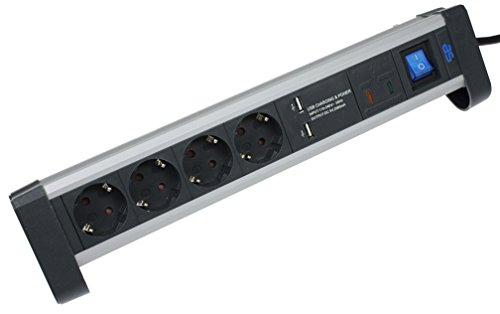 as - Schwabe 18361 4-Fach Überspannungs-Aluminium-Steckdosenleiste, mit Schalter und Kinderschutz, mit 2 USB Ports, 1,5m Kabel mit Schuko-Stecker, Weiss
