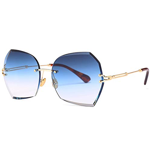 YLNJYJ Rimless Fashion Trend Luxury Sunglasses Women Uv400 Gradient Lens Blue Brown Gray New Brand Top Sun Glasses Exquisite Men