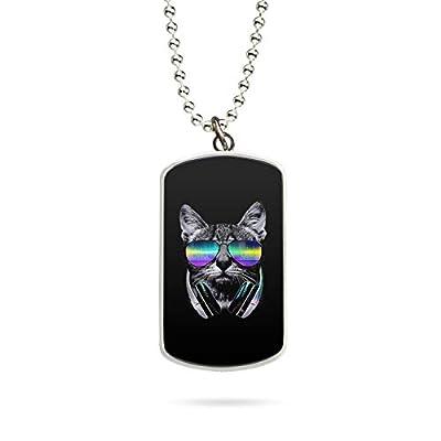 Collier Pendentif Necklace Cat Chat Lunettes de soleil Sunglasses