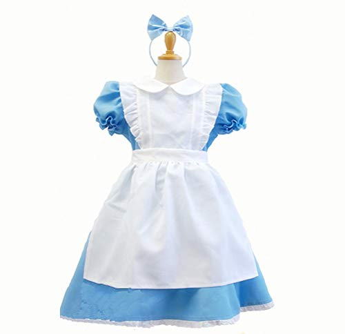 XIAOKEAI Kind Kostüm Aschenputtel Alice im Wunderland Halloween-Kostüm Kostümball Party-Rollenspiele (Kind Prinzessin Alice Kostüme)