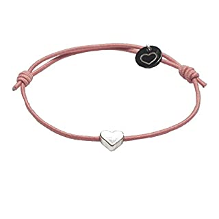lua accessories Armband Damen - Elastikband - größenverstellbar - hochwertig versilbertes Herz - Mini Heart silber (nude)