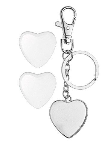 Glorex GmbH 6 1633 024 Cabochon Schlüsselanhänger silber, doppelseitig herzform, 32 mm