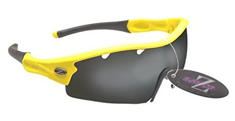 RayZor Professional Lightweight UV400 Yellow Sports Wrap Archery Sunglasses, With a 1 Piece Vented Smoked Mirrored Anti-Glare Lens.