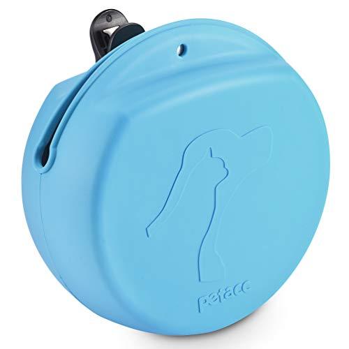 petacc Futterbeutel für Hunde, Hund Futterbeutel Training Pouch Belohnung Einfach zu Säubern Essen Silikontasche mit Gürtelclip Magnetverschluss Große Öffnung, 500 ml Großes Fassungsvermögen, Blau