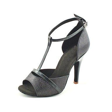 Silence @ pour femme Chaussures de danse latine/salle de bal Paillettes scintillantes Talon Noir Red