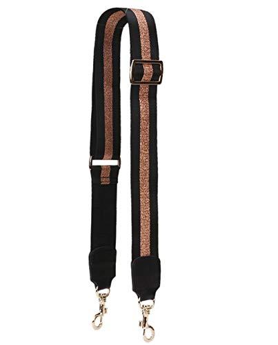 Fashion Design Stitching Sequins Stripe Ladies Bag Accessories Single Shoulder Strap Messenger Bag Strap Belt Bag Parts Handle Black